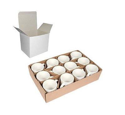 Kit 10 caneca brancas de porcelana 325ml c/ caixinhas