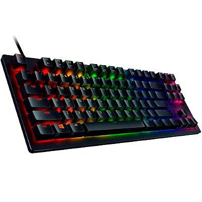 Razer Huntsman Tournament Edition TKL teclado para jogos sem tecla: teclas mais rápidas de todos os tempos - interruptores ópticos lineares - iluminação Chroma RGB - teclas PBT - memória integrada - preto clássico (Encomenda, 10 Dias úteis)