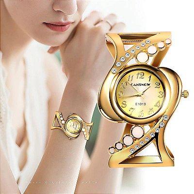 """Compre1 e Leve 2: Relógio """"Verna"""" em Strass - Quartzo - Analógico - Super Luxo - Frete Grátis"""