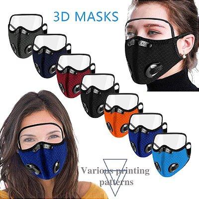 Máscara 3D com Filtro de Carvão - Viseira Removível - Não embaça - 8 Cores - Frete Grátis