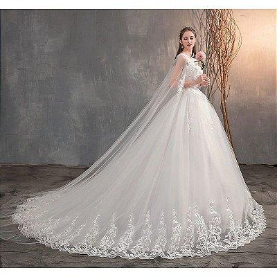 """Vestido de Noiva """"Romantic"""" Bordado com Véu - Top Quality - 10 Tamanhos - Frete Grátis"""
