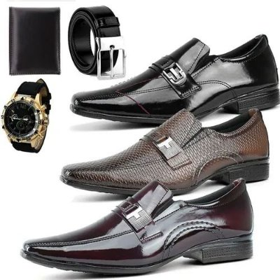 Box Showpromodia-: Kit com 3 Pares de Sapatos Sociais - Brinde: Relógio - Cinto e Carteira - Tamanhos de 37 a 44