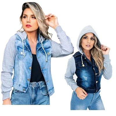 -Box Showpromodia-: Jaqueta  Jeans Feminina - Manga Moletom com Capuz - 2 Cores - Até GG