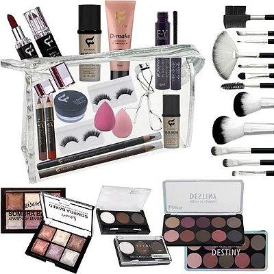 - Box Olanella: Kit Maquiagem Atacado 30 Peças  - Paletas - Sombra - Base - Batom + Necessaire - Envio Imediato