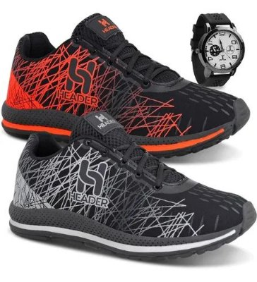 Box Olanella: Kit com 2 Pares de Tênis Masculinos Spider - Caminhada - Academia + Relógio - Tam. até 45 - Envio Imediato