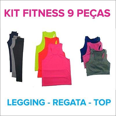 Kit Fitness - 9 peças - 3 Leggings - 3 Regatas Nadador - 3 Tops Nadador - Até GG