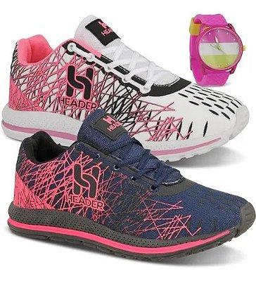 Box Showpromodia: Kit com 2 Pares de Tênis Femininos Header + Relógio de Brinde de 34 a 39 - Envio Imediato