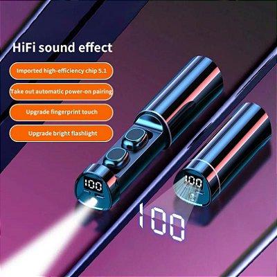 Box Simply: Mini Fone de Ouvido sem Fio - Bluetooth - Carregador com Visor Led - Lanterna - A prova d'água - 3 Cores - Frete Grátis