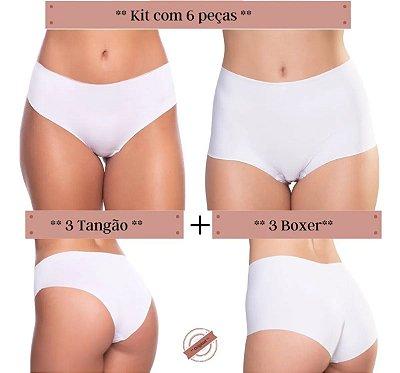 Kit Misto 6 Peças: 3 Calcinhas Boxer e 3 Tangão - Sem Costura - Corte a Laser - Não marca