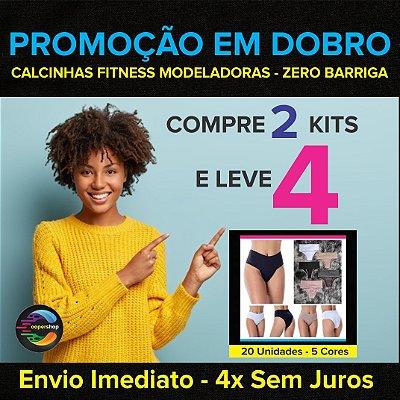 Promoção em Dobro: Compre dois Kits e Leve 4  - Calcinhas Fitness Modeladoras - Compressão - Zero Barriga - Até GG  - Envio Imediato