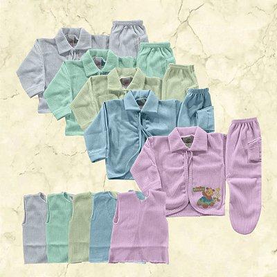 Kit com 15 Peças: 5 Conjuntos Pagão /Mijão (Camisetas/Casaquinhos/Calça) Menino ou Menina - Envio Imediato