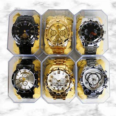 Box Showpromodia-: Kit com 5 Relógios Masculinos Aço - Envio Imediato