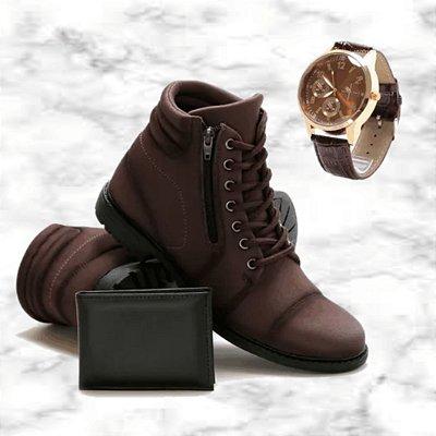 -Men Shoes-: Kit 2 Pares de Botas Coturno JDK + Carteira + Relógio - 2 Cores - Até 44