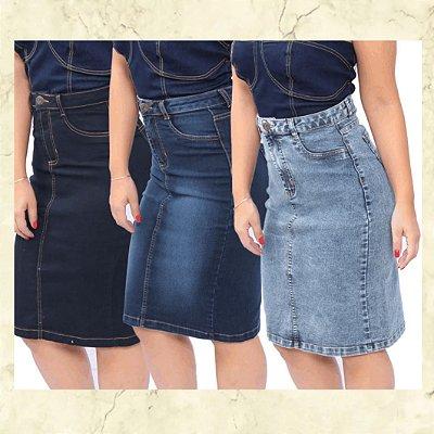 -Evangelys-: Kit 3 Saias Evangélicas em Jeans - Social - Cintura Alta - Até GG