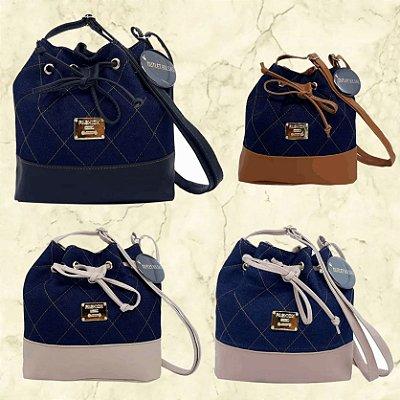 Kit com 3 Bolsas Saco Jeans Pequenas - Alça Transversal - Bolso Traseiro - Detalhes em Couro - 4 Cores