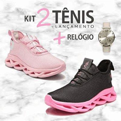 Kit com 2 Pares de Tênis Femininos Limited  + 2 Relógios -  Caminhada/Corrida - 3 Cores - Tam: 34 a 39