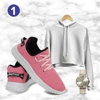 Kit 3 Peças: Tênis (35 a 40) + Cropped Moletom (Até GG) + Relógio