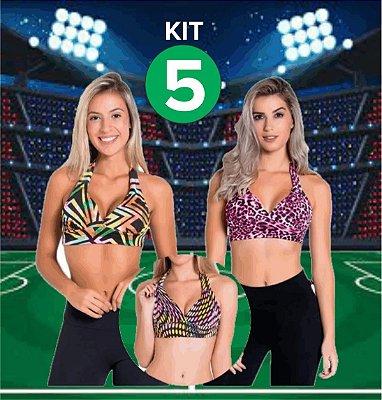 Kit com 5 TOPS com Bojo - Frente Única - Tamanho: M/G