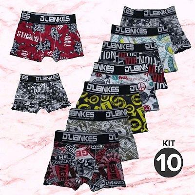 Kit com 10 Cuecas Infantil Boxer - Estampadas - Tamanho: Até 6 anos