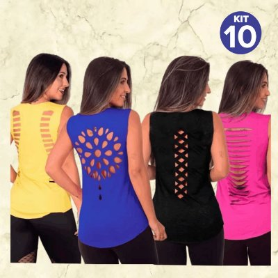 Kit com 10 Camisetas/Regatas Viscolycra - Recorte a Laser - Cores Variadas - Tamanho Único: 36 a 40