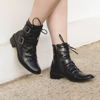 Bota Salto Baixo, Leather - Luíza Barcelos