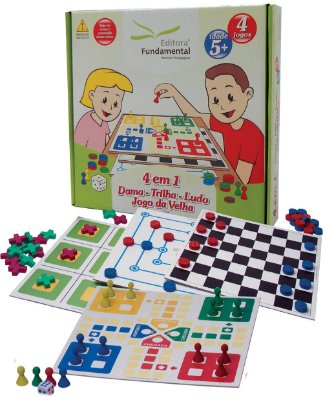 Jogo 4 em 1 - Dama, Trilha, Ludo e Jogo da Velha