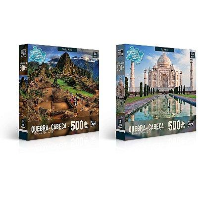 Maravilhas do Mundo Moderno: Machu Picchu e Taj Mahal - Quebra-cabeça - 500 peças
