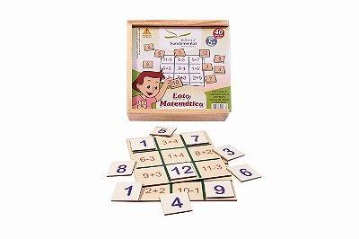 Loto Matemática 4 placas + 36 peças em mdf