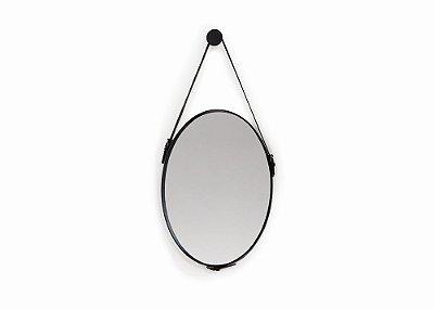 Espelho Oval com Cinto Preto 50x70 cm