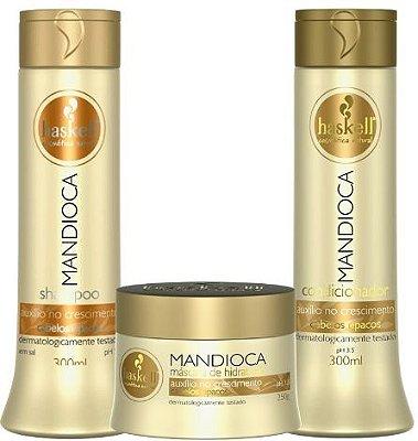 Haskell Kit Mandioca-shampoo 300ml-condicionador 300ml-máscara capilar 250g