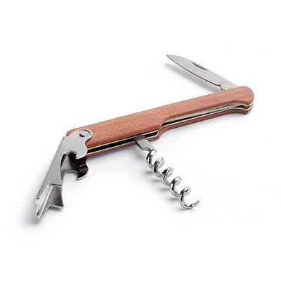 Saca-rolhas madeira com abridor de garrafas e canivete. Personalizado - Min. 100 peças