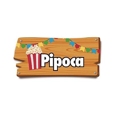 Plaquinha Festa Junina Pipoca
