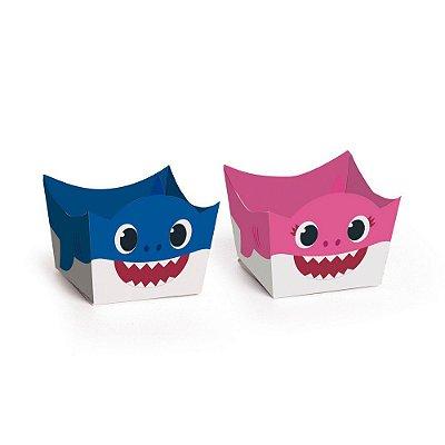 Porta Forminha para Doces Baby Shark Azul Rosa - 24 unidades