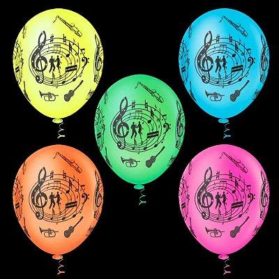 Balão Neon Sortido Decorado - 25 unidades