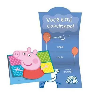 Convite Peppa Pig - 8 unidades