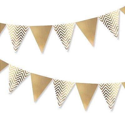 Bandeirola de Papel Metalizado Dourado