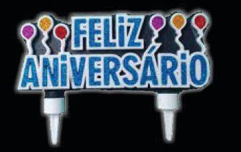 Vela Feliz Aniversário Azul