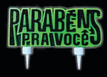 Vela Neon Parabéns Verde