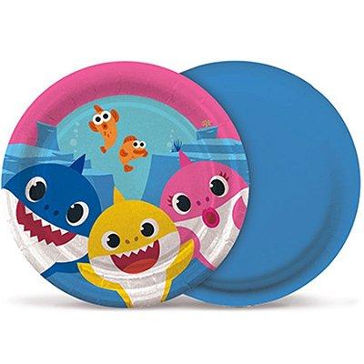 Prato Descartável Baby Shark - 8 unidades