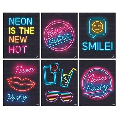 Cartaz Decorativo Neon - 8 unidades