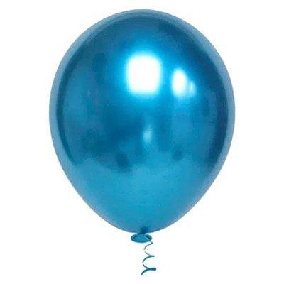 Balão Platinado Cromado Azul - 25 unidades