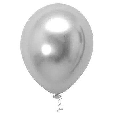 Balão Platinado Cromado Prata - 25 unidades