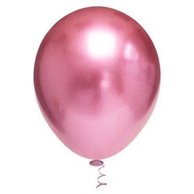 Balão Platinado Cromado Rosa - 25 unidades