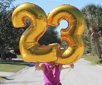 Balão Metalizado Dourado Número - 1 metro