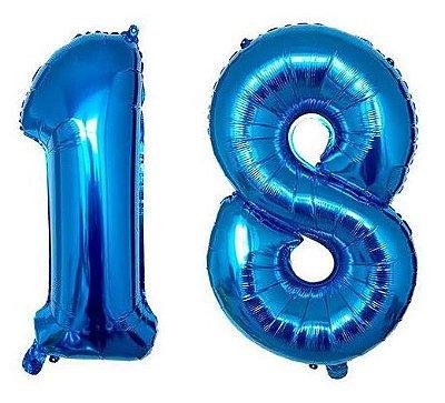 Balão Metalizado Azul Número - 1 metro
