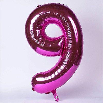 Balão Metalizado Pink Número - 1 metro