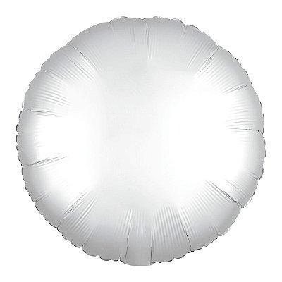 Balão Metalizado Redondo Branco - 45 centímetros