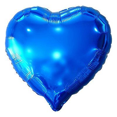 Balão Metalizado Coração Azul - 45 centímetros