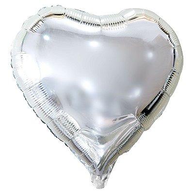Balão Metalizado Coração Prata - 45 centímetros