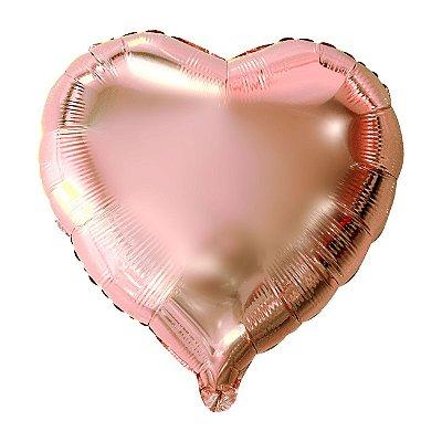 Balão Metalizado Coração Rose - 45 centímetros